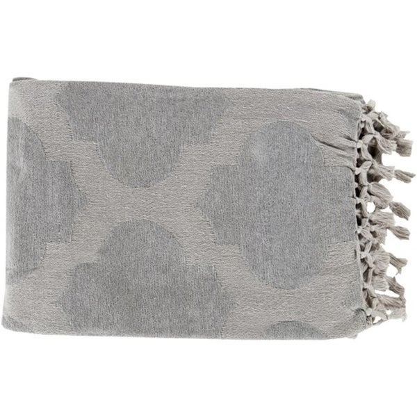 "50"" x 70"" Warm Hearth Gray Fringed Cotton Throw Blanket"