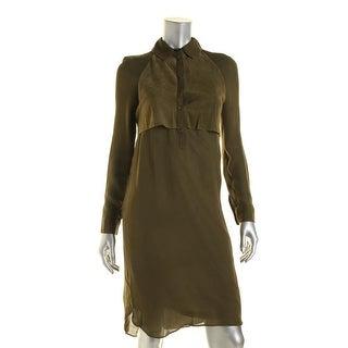 Haute Hippie Womens Mixed Media Adjustable Sleeve Wear to Work Dress
