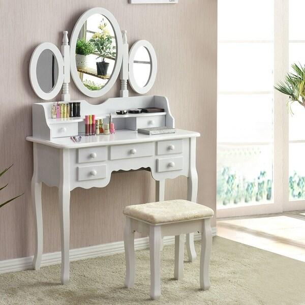 Shop Gymax Bathroom Make Up Vanity Table Set Tri Folding