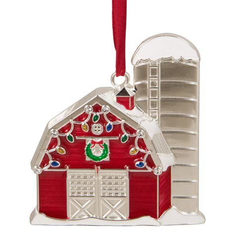 "3.5"" Red and White Barn House with Crystals Christmas Ornament"