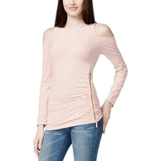 MICHAEL Michael Kors Womens Pullover Top Striped Open Shoulder