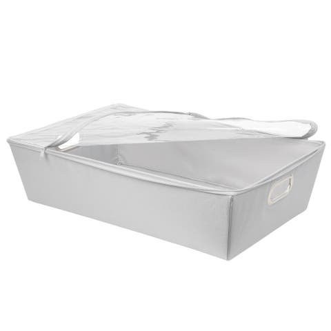 Underbed ZipTop Storage with Clear Window and Grommet on 2 sides DOVE GRY