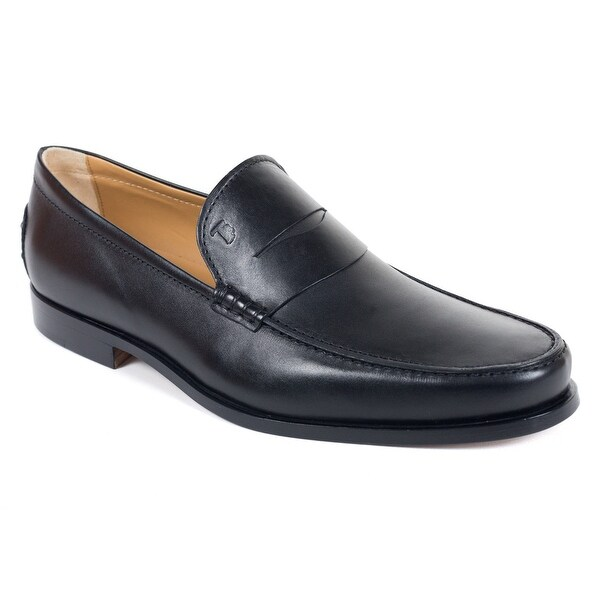 ec469259dc1 Shop Tods Mens Classic Matte Black Leather Penny Loafers - Free ...