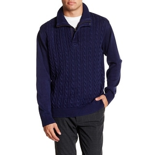 Weatherproof NEW Blue Mens Size Small S 1/2 Zip Cable-Knit Solid Sweater