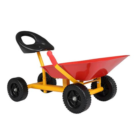 Kids Ride On Sand Digger Sand Dumper 4-Wheels Wheelbarrow
