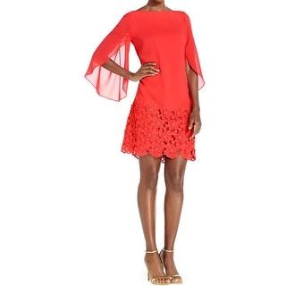 Tahari Womens Luis Casual Dress Chiffon Crochet Trim