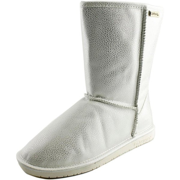Bearpaw Emma Short Women Round Toe Leather Silver Winter Boot