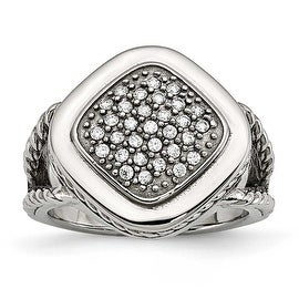 Chisel Stainless Steel Polished CZ Square Ring