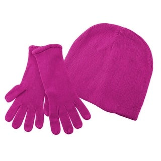 Super Soft Fuchsia Winter Hat, Gloves Set