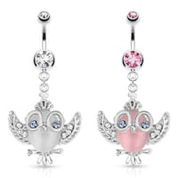Cats Eye Owl with Gemmed Wings Glasses and Crown Dangle 316L Surgical Steel Navel Belly Button Ring