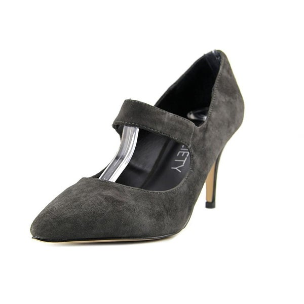 Sole Society Deven Women Pointed Toe Suede Gray Mary Janes