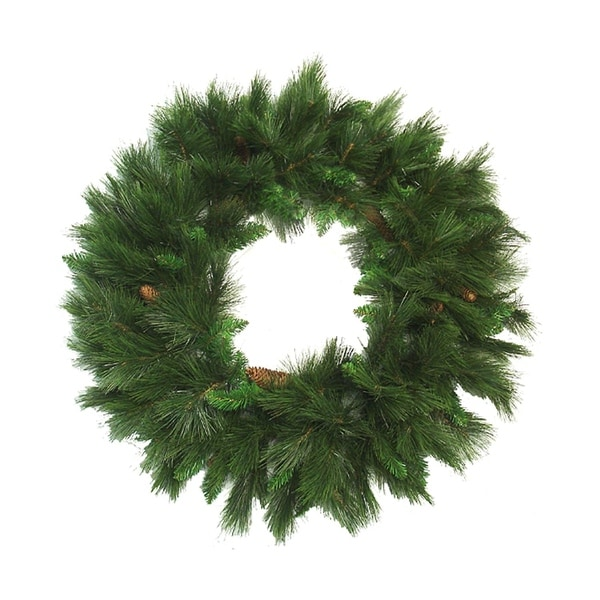 "36"" Green Long Needle Pine Artificial Christmas Wreath with Pine Cones - Unlit"