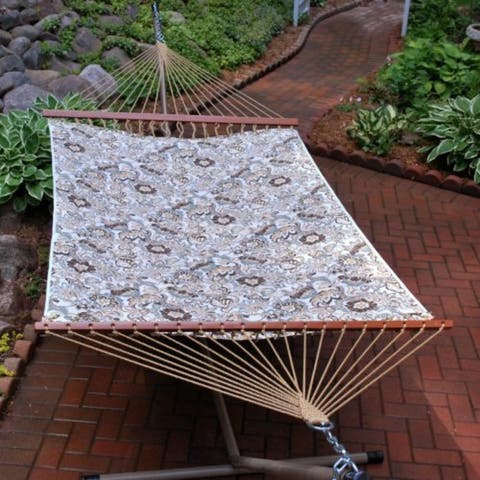 """82"""" x 55"""" Blue and Brown Floral Reversible 2-Point Quilted Double Hammock"""