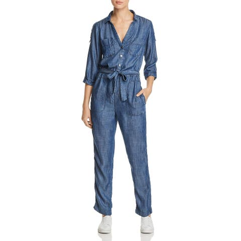 MKT Studio Womens Oura Jumpsuit Overall 3/4 Sleeves - Blue