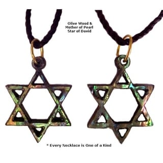 Olivewood Mother Of Pearl Star Of David Necklace