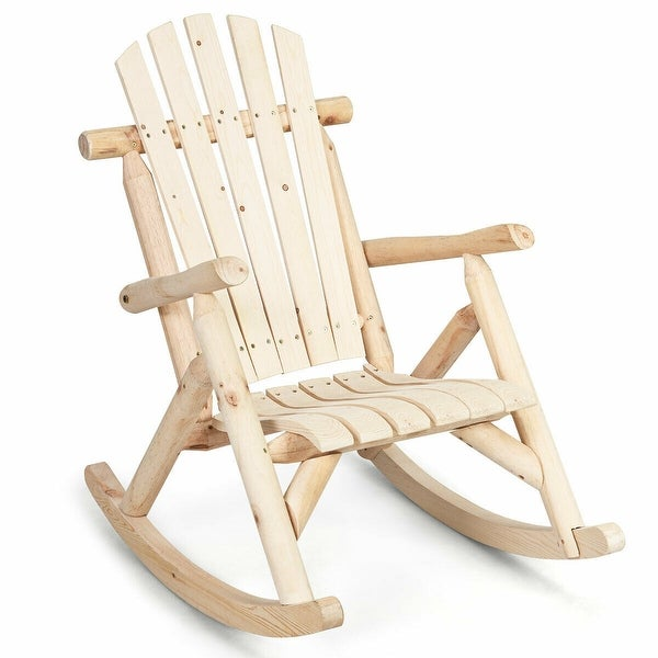 Costway Log Rocking Chair Wood Single Porch Rocker Lounge Patio Deck Furniture Natural