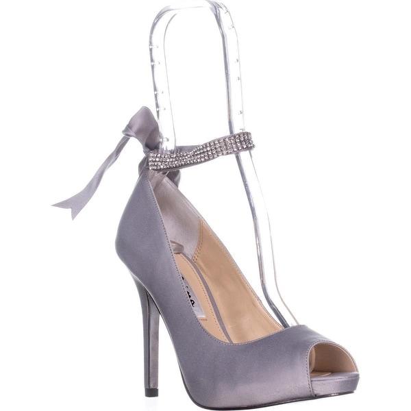 Nina Karen Rhinestone Ribbon Ankle-Strap Pumps, Royal Silver - 6.5 us / 36.5 eu