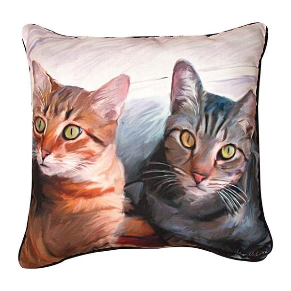 "18"" Robert McClintock ""Sweepo & Toney"" Cats Square Throw Pillow"