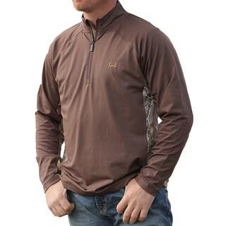 Cinch Western Shirt Mens Pullover L/S Jersey Camo Zip Brown MKK5004002