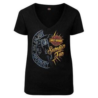 Harley-Davidson Women's Summer Journey V-Neck Short Sleeve T-Shirt, Black