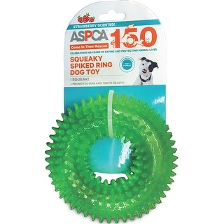 ASPCA Squeaky Spiked Ring Dog Toy-Green - Green