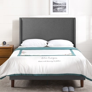 Link to Priage by ZINUS Dark Grey Upholstered Platform Bed Frame Similar Items in Bedroom Furniture