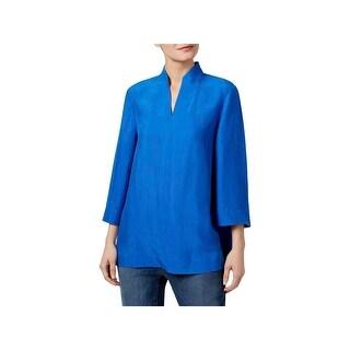 Eileen Fisher Womens Casual Top Silk High Collar
