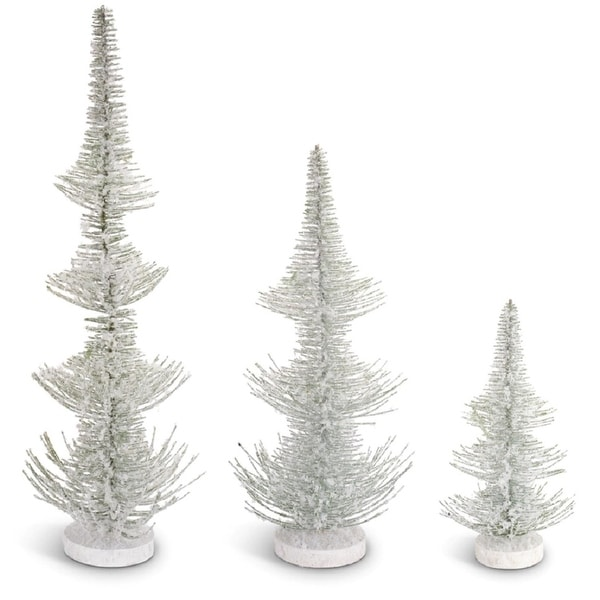 """Pack of 6 Frosted Pine Artificial Table Top Christmas Trees 24.5"""" - green"""