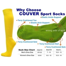 Bright Yellow Couver Knee High Unisex Sports Athletic Baseball Softball Socks(3 Pairs)