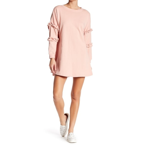 335faebca82 Shop Solutions NEW Pink Womens Medium M Cotton Ruffle Sleeve Sweater Dress  - Free Shipping On Orders Over  45 - Overstock - 21465025