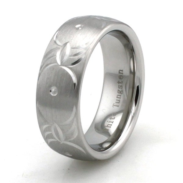 Hand Carved White Tungsten Brushed Finish Ring w/ Tribal Wings Pattern