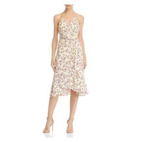 WAYF Yellow Spaghetti Strap Below The Knee Dress S