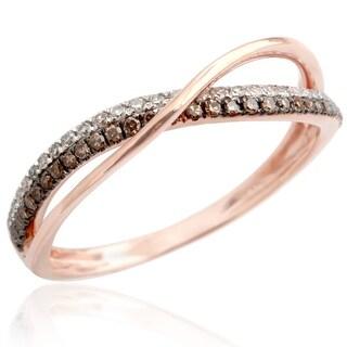 Beautiful 0.25 Carat Round Brilliant Cut Real Brown Color Diamond With Diamond Half Eternity Anniversary Ring