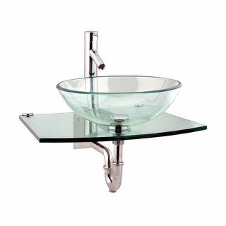 Renovator's Supply Unique Wall Mount Tempered Glass Bathroom Vessel Sink