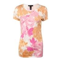 INC International Concepts Women's Sequin Floral Knit Blouse - Orange/Pink