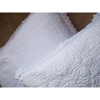 Laura Ashley Heirloom Crochet White Cotton 3-Piece Quilt Set