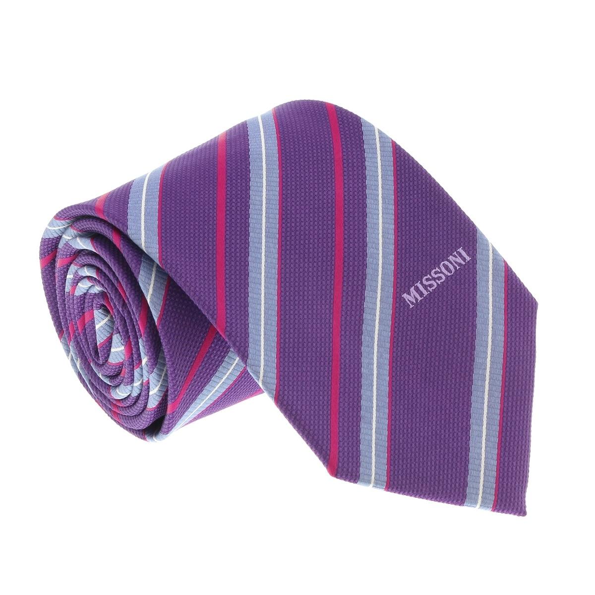 Missoni U4310 Purple Sharkskin 100/% Silk Tie