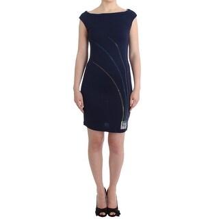 Roccobarocco Blue embellished sheath dress