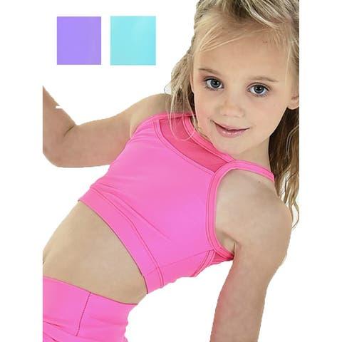 Little Girls Multi Color Front Back Mesh Insets SYDNI Dancewear Bra Top