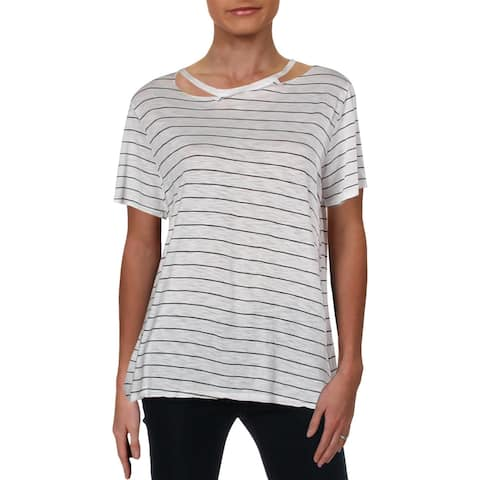 Michelle by Comune Womens Pullover Top Cold Shoulder Striped