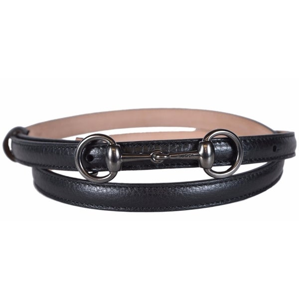 Gucci Women's 282349 BLACK Leather Horsebit Buckle Skinny Belt 36 90