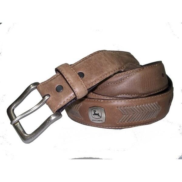 John Deere Western Belt Mens 38MM Braid Logo Ornament Brown