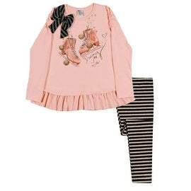 Girls Outfit Long Sleeve Shirt and Striped Leggings Pulla Bulla Sizes 2-10 Years