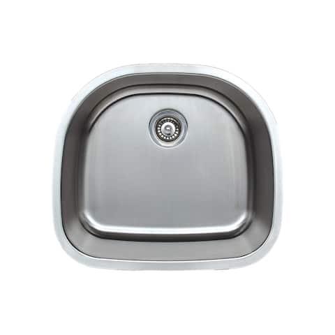 Wells Sinkware Craftsmen Series 24-inch 16-gauge Undermount D-Shape Single Bowl Stainless Steel Kitchen Sink - Sink Only
