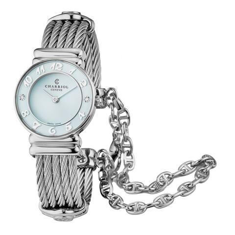 Charriol Women's 028SAD5.540.568 'St Tropez' Ice Blue Dial Stainless Steel Diamond Quartz Watch