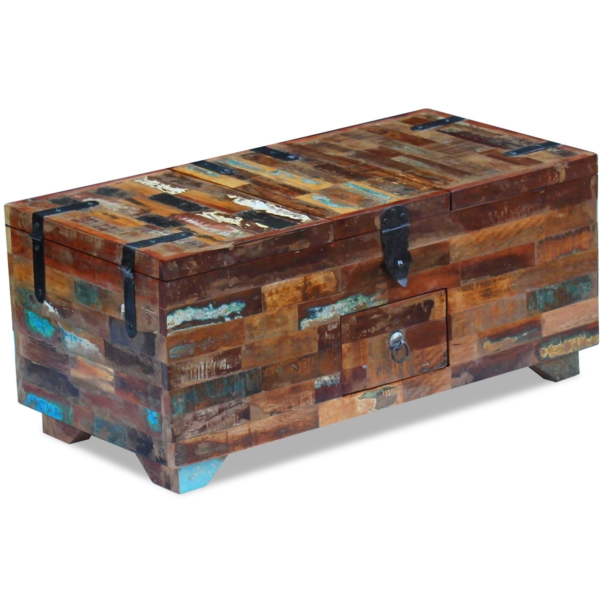 Vidaxl Coffee Table Box Chest Solid Reclaimed Wood 31 5 X15 7 X13 8