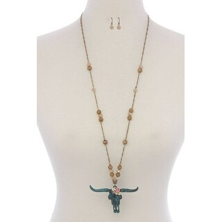 Floral Cattle Skull Pendant Beaded Necklace - Color - Blue