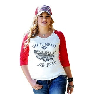 Cruel Girl Western Shirt Womens 3/4 Sleeves Raglan White CTK9695016 - l
