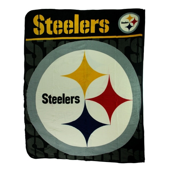 Pittsburgh Steelers Logo Micro Raschel Throw Blanket Black Free