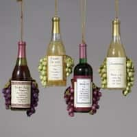 Club Pack of 12 Vintage Tuscan Winery Wine Bottle and Grapes Christmas Ornaments - RED